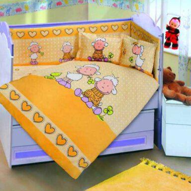 ست لحاف نوزاد پرکا طرح شیپ Sheep پانو رانفرس ۶ تکه 1 رادک