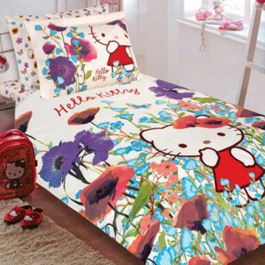 ست کاور لحاف ۳ تکه نوجوان پرکا طرح هلوکیتی Hello Kitty پانو رانفرس 1 رادک