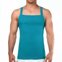 رکابی فانریپ یقه خشتی مردانه رویین تن پوش رنگ سبزآبی