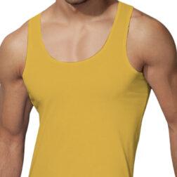 رکابی یقه هلالی مردانه رویین تن پوش رنگ زرد