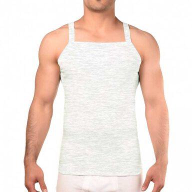 رکابی فانریپ یقه خشتی مردانه رویین تن پوش رنگ طوسی روشن 1 رادک