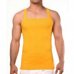رکابی فانریپ یقه خشتی مردانه رویین تن پوش رنگ زرد