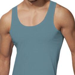 رکابی یقه هلالی مردانه رویین تن پوش رنگ آبی کبریتی