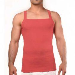 رکابی فانریپ یقه خشتی مردانه رویین تن پوش رنگ گلبهی