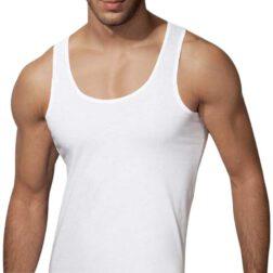 رکابی یقه هلالی مردانه رویین تن پوش رنگ سفید