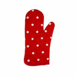 دستکش فر کتان رزين تاژ طرح خالدار قرمز
