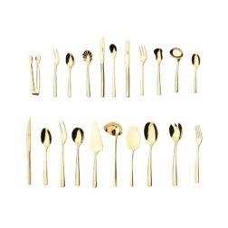 سرویس قاشق و چنگال ۱۲۴ پارچه ناب استیل مدل فلورانس طلایی